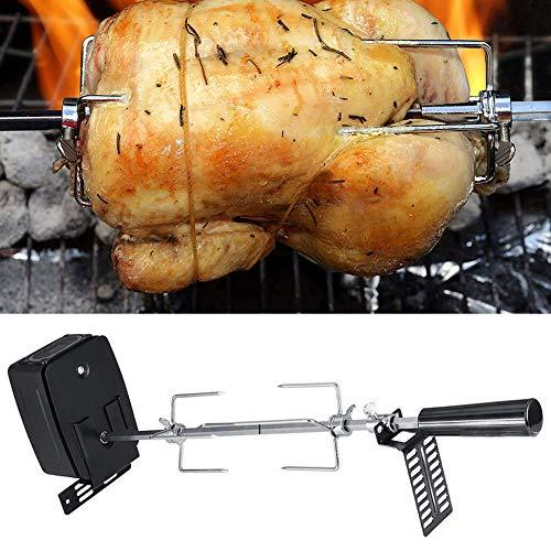 Lovejoy Store, kit per girarrosto con griglia in acciaio inox, batteria elettrica per esterni, per barbecue, pollo, forchetta, arrosti, arrosti per ca
