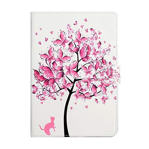 Miagon Tablet Hülle für Samsung Galaxy Tab S5e T720 {10.5 Zoll},PU Leder Flip Brieftasche Case mit Standfunktion Kartenschlitz Stoßfest Cover,Rosa Baum Katze