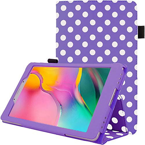 TECHGEAR Leather Case for Samsung Galaxy Tab A 8.0' 2019 (SM-T290 / SM-T295) Premium PU Leather Slim Folio Stand Case Cover with Hand Strap [Purple Polka Dot]