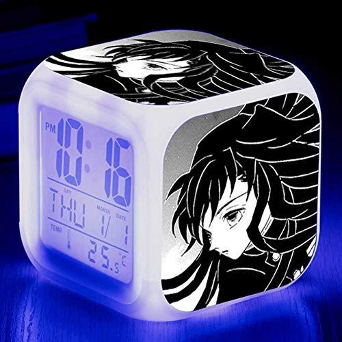 Ailin Online Demon Slayer Alarm Clock, Batterijen Operated, 7 Gekleurde LED Digitale Verlichte Wekker met Tijd, Alarm, Datum, Dag van de Week