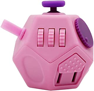 Orisignall Fidget Cube for Kids,Upgrade 12 Side Anxiety Finger Attention Toys for Toddlers Teens, Easy to Portability and Use-Pink