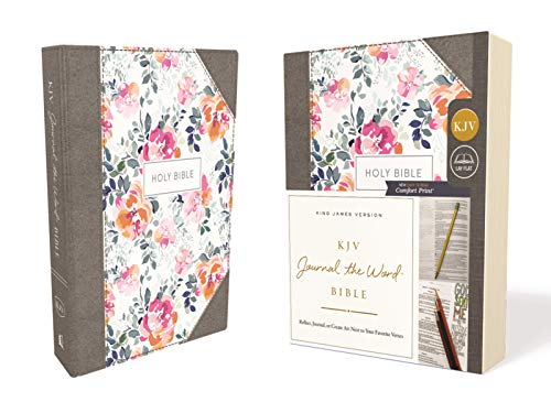 KJV, Journal the Word Bible, Cloth over Board, Pink Floral, Red Letter Edition, Comfort Print: Reflect, Journal, or Create Art Next to Your Favorite Verses