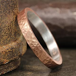 3mm Wedding Band 18K Rose Gold Vermeil 925 Sterling Silver Hand Forged Hammered Mens Women Unisex Flat Pipe Cut Thick Handmade Ring - FREE Engraving