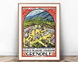 GRENOBLE Travel Poster, Paris Wall Art, Swiss Art Print,