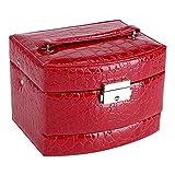 Boîte à Bijoux avec Miroir Coffret pour Bijoux Pésentoirs avec Boucle Moderne Cadeau Vintage pour les Femmes (rouge )