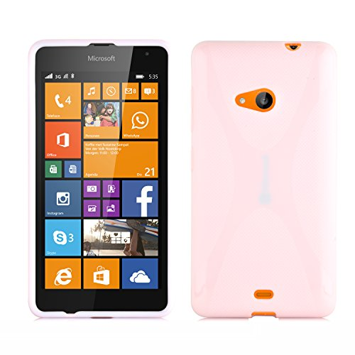 Cadorabo Hülle für Nokia Lumia 535 in HALB TRANSPARENT – Handyhülle aus flexiblem TPU Silikon – Silikonhülle Schutzhülle Ultra Slim Soft Back Cover Hülle Bumper