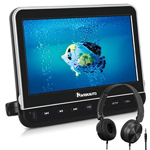 NAVISKAUTO 10,1' DVD Player Auto HDMI Eingang HD 1080P DVD Player Tragbar Kopfstütz Monitor mit Kopfhörer 1024*600 Memory SD USB bis 128GB AV In/Out 12V