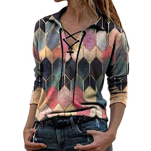 Blusa túnica Suelta de Manga Larga con Cuello en V Floral Bohemio para Mujer Camisas de Verano para Mujer con Estampado de Manga Larga con Cuello en V Camiseta con Cuello en v Tops Casuales Mujer