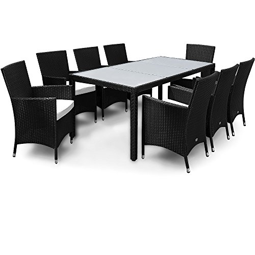 Deuba Poly Rattan Garden Dining Table and Chairs Set Outdoor Patio Conservatory Furniture 8 Seater Beige Black Brown (Black)