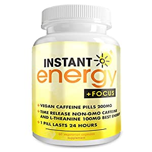 TAKE THE 1 ENERGY PILL CHALLENGE - All it takes is 1 Pill and 15 minutes to get the energy you have been searching for. QUICK + EFFECTIVE COFFEE ALTERNATIVE - Fast and easy to use caffeine pills for daily use or when energy levels are going down. Car...