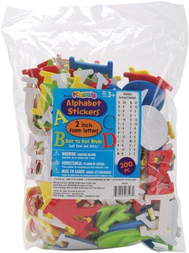 Darice 106-605 200-Pack Foamies Alphabet Sticker, 2-Inch, Assorted Color