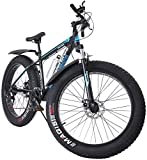 FITORON Fat Tire Mountain Bikes Men Women 17-Inch/Medium High-Tensile Aluminum Frame, 21-Speed, 26-inch Wheels Outdoor Bicycle Aluminum Frame, up to 200KG (Blue)