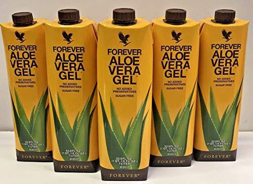 Aloe Vera Forever Living Gel - Juego de Bebidas de aloe vera, 5 x 1000 ml