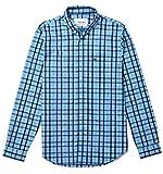 Lacoste Camisa Regular fit en popelín de algodón con Cuadros - Color - Azul, Talla - 42
