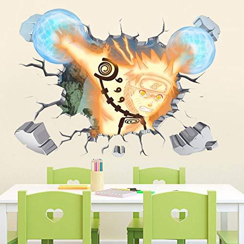 Naruto Anime 3D tridimensional pared rota pegatina de pared de dibujos animados papel tapiz autoadhesivo decorativo-60 * 90 CM-mi