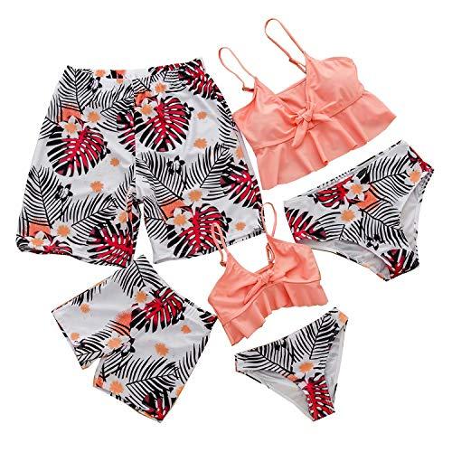 Herimmy Family Matching Swimwear Mommy and Me Swimsuit Ruffle Floral Bikini Mens Kids Swim Truck Beachwear Sets Pink