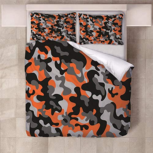 JKCloth Duvet Cover with 2 Pillowcases 3D Printed Orange camouflage Bedding Set with Zipper Closure Unique Design Anti-allergic Double Duvet Cover Set Single - 140x200cm