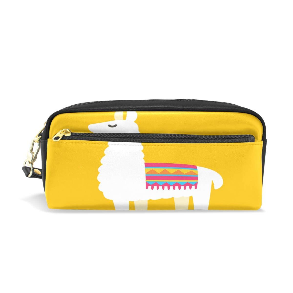 Estuche estuche con cremallera grande bolsa de maquillaje Cartoon Llama Alpaca dibujo lápiz bolsa caja para niños y niñas suministros escolares: Amazon.es: Oficina y papelería