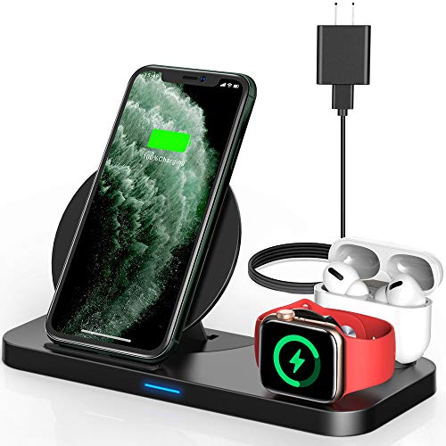 Powlaken 3 in 1 Wireless Charging Station for Apple Products Compatible with Apple Watch Series Se 6 5 4 3 2, AirPods Pro 2, Fast Wireless Charger Stand Dock for iPhone 12, 11 Pro Max, 11, XR, XS, X