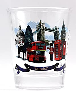 London England Landmarks and Icons Blue Ribbon Shot Glass