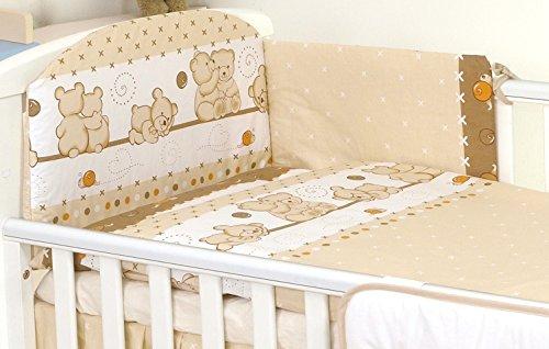 5 teilig Set Babybettwäsche-Set Baby Bett für Kinderbett 140 x 70 cm Braune Teddybären Nestchen Decke 135 x 100 cm Bettbezug Kissen Kissenbezug 40 x 60 100% Baumwolle Kinderbettwäsche
