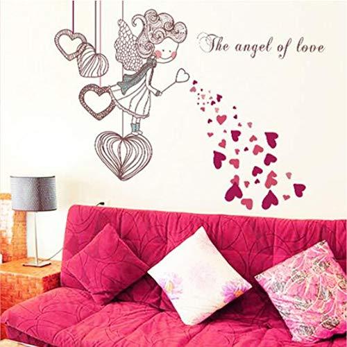 skwff Chica dormitorio etiqueta de la pared amor niña extraíble etiqueta de la pared de PVC película transparente