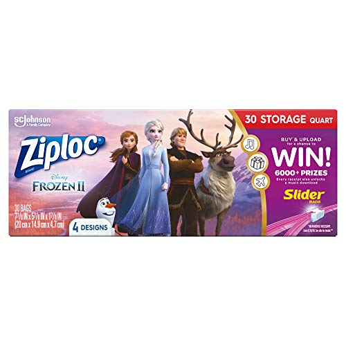 Ziploc Storage Slider Bags, Quart, 30 Count, Featuring Disney's Frozen