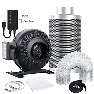 Nova Microdermabrasion 4 Inch Inline Duct Fan 276 CFM with Speed Controller, Carbon Filter and Ducting Combo for Hydroponics Grow Tent Ventilation
