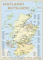 Whisky Distilleries Scotland - Poster 42x60cm - Standard Edition: The Whiskylandscape in Overview - Massstab 1:1.000.000