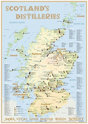 Whisky Distilleries Scotland - Poster 42x59.4cm - Standard Edition: The Whiskylandscape: The Whiskylandscape in Overview - Maßstab 1:1.000.000
