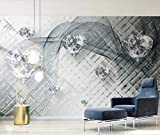 Fototapete 3D Tapete Graue Linie Transparenter Herzförmiger Diamant Tapeten Vliestapete 3D Effekt Wandbild Wanddeko Wandtapete