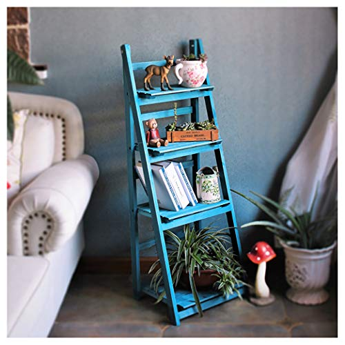 4-Tier Foldable Plant Shelf,Plant Stand,Flower Pot Ladder,Freestanding Foldable Shelf Rack/Decorative Planter Pot Display Stand,Indoor/Outdoor No Assembly Required(Color:blue)
