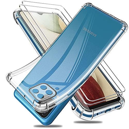 Reshias Cover per Samsung A12 / M12, Morbido Trasparente TPU Anti-Caduta Protettiva Custodia con Due Vetro Temperato Pellicola Protettiva per Samsung Galaxy A12 / M12 6.5'