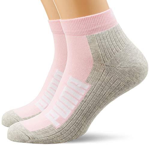 PUMA unisex-adult Cushioned Quarter (2 Pack) Socks, basic pink, 35/38 (2er Pack)