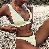 YSYSZYN Traje de baño de Las señoras Bikini 2021 Micro Swimsuit Mujeres Push Up Swimwear Dwing Piece Bikini Set Solid Bather Traje de baño Traje de baño Mujer Sexy (Color : Beige, Size : M)