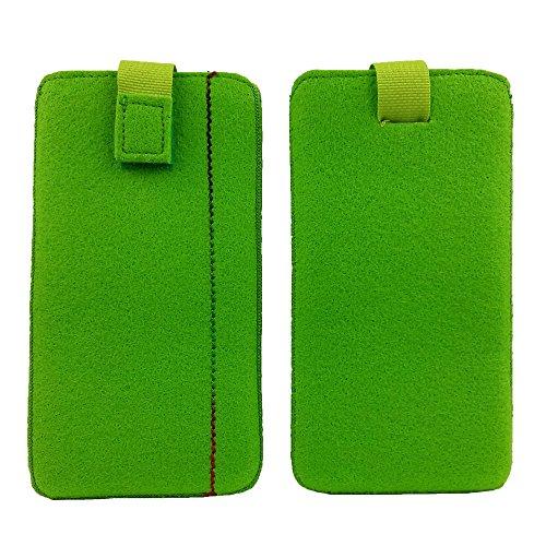 handy-point 5,0'' Filztasche Tasche Hülle aus Filz für Samsung, iPhone, Sony, Lenovo Moto, Huawei, Alcatel, Gigaset, Medion, Neffos, Geräte mit Max.14,2x7,3xx1cm (Grün hell)