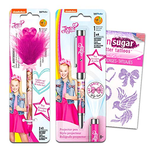 InkWorks JoJo Siwa Pens Set - Deluxe Projector Pen and Pom Pom Pen with Bow (JoJo Siwa School Supplies)