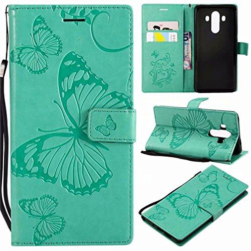 Huawei Mate 10 Pro Hülle Fanxwu PU Flip Case Schmetterling Geprägtes Wallet Case mit Standfunktion Anti-Schock Bumper Etui-Grün