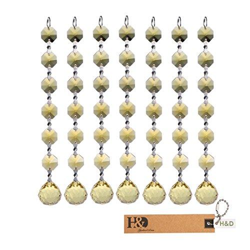 H & D 20 mm Kristall Kugel Prismen Kronleuchter Anhänger zum Aufhängen mit 14 mm Octagon Perlen Lampe Kandelaber Teile zum Aufhängen Hochzeit Weihnachten Favor, hellgelb, 5 Stück