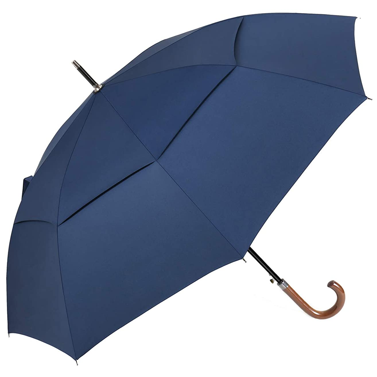 G4Free 54/62inch Wooden J-Handle UV Umbrella, Large Auto Open Sun Protection Umbrella UPF50+ Double Canopy Vented Windproof Classic Stick Cane Umbrellas for Men Women,Gentlemen and Ladies