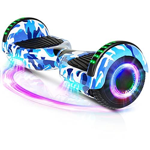 Hoverboard, Patinete Flotante autoequilibrado de 6.5 'con Ruedas, Altavoz Bluetooth, Luces LED para niños y Adultos (Camuflaje Azul)