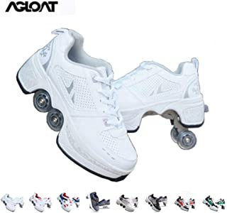 FTYUNWE Roller Skates for Women,Shoes with Wheels for Girls,Kick Rollers Shoes Skates Retractable Adult,Skating Shoes for Boys,Heel Skates for Kids,Sports/Outdoor Recreation Parkour Shoes,White-8