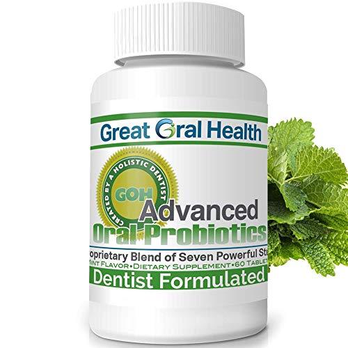 Chewable Oral Probiotics for Mouth — Oral Probiotics — Gum Disease Gingivitis & Bad Breath Treatment Supplement w/ BLIS K12 M18 — Dentist Formulated 60 Lozenge Mint Flavor eBook Included