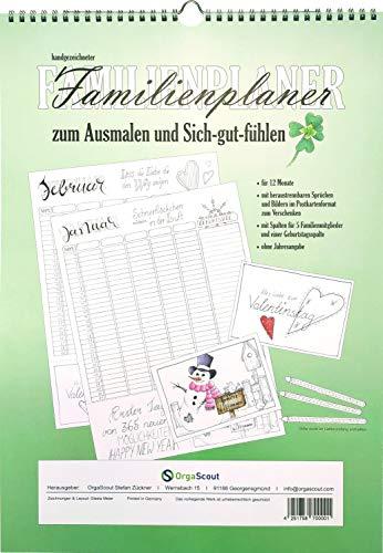 OrgaScout Familienplaner Wandkalender im A3 Format mit 6 Spalten, beinhaltet gleichzeitig 3 Funktionen: Familienkalender, Ausmal-Postkarten und Anti-Stress Malbuch für Erwachsene und Kinder