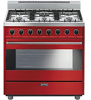 "Smeg C36GGRU 36"" Free Standing Gas Range with 6 Gas Burners and 3 Cooking Modes, Red"
