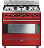 Smeg C36GGRU 36' Free Standing Gas Range with 6 Gas Burners and 3 Cooking Modes, Red