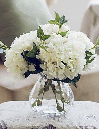 flores artificiales,Ramo de la moda, california cinco hortensias blancas flores artificiales con el florero