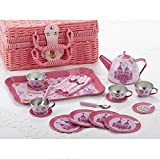 Delton Tin 19 Pcs Tea Set in Basket, Castle