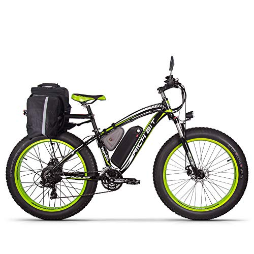 RICH BIT RT 022 Mountain Bike elettrica aggiornato, 1000W Fino a 40 mph 26 Pollici 26 Pollici e-Bike Pneumatici grossi 21 velocità Beach Cruiser Sport Mountain Bike Full Suspension