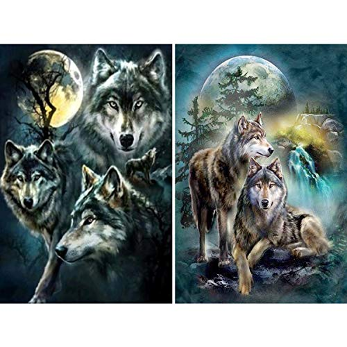 2 Pack 5D Full Drill Wolves Diamond Painting Kit,UNIME DIY Diamond Rhinestone Painting Kits for Adults and Children Diamond Arts Craft 12 x 16 inch (Moon and Wolf Diamond Painting Kits)